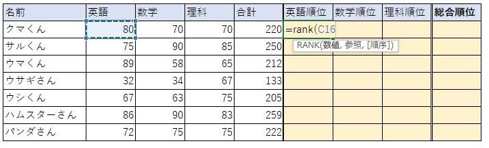 ②RANK関数の1つ目の要素「数値」のセルを選択します。