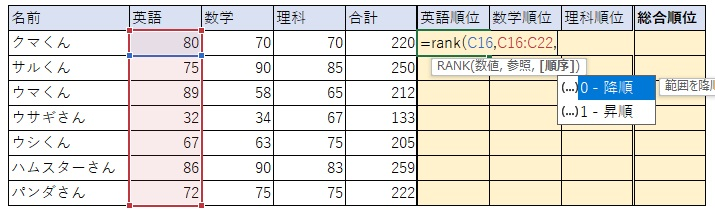 ④RANK関数の3つ目の要素「順序」を指定します。